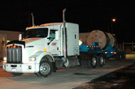 A WIPP trucking with the first shipment of remote-handled transuranic waste arriving at WIPP on January 23, 2007.