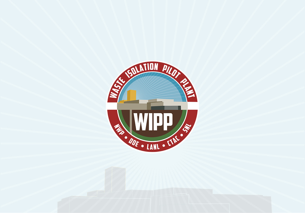 WIPP logo with a radiant blue and white background